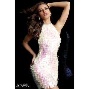 JOVANI Holographic Backless Iridescent Dress - 0